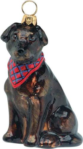 Chocolate Labrador Retriever w/Bandana Glass Dog Ornament