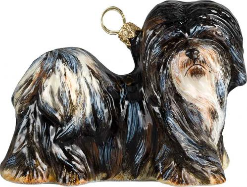 Lhasa Apso (Black & White) Dog Ornament