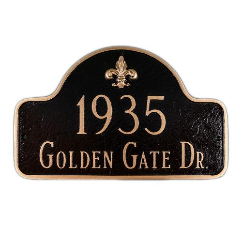 Decorative Arch Plaque -  Fleur de Lis Two Line