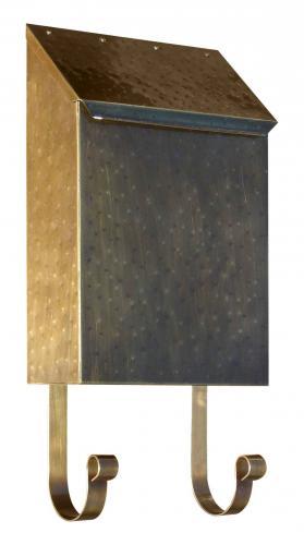 Hammered Antique Brass Vertical Wall Mailbox