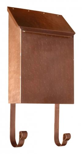 Hammered Antique Copper Vertical Wall Mailbox