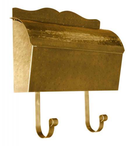 Hammered Antique Brass Roll Top Wall Mailbox
