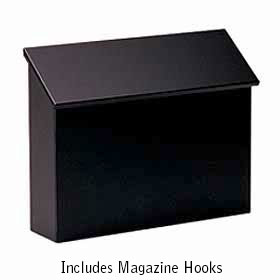 Black Traditional Horizontal Wall Mailbox