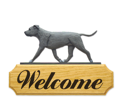 AmStaff Terrier Dog Welcome Sign