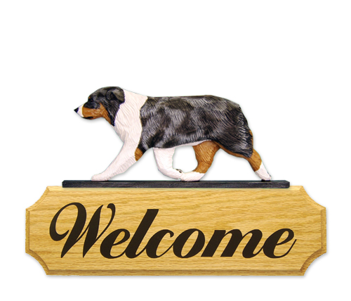 Australian Shepherd Dog Welcome Sign