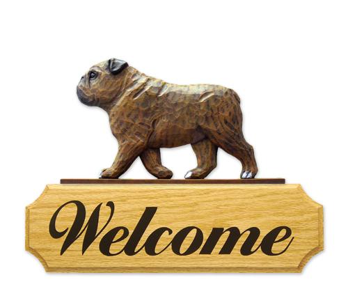 English Bulldog Dog Welcome Sign