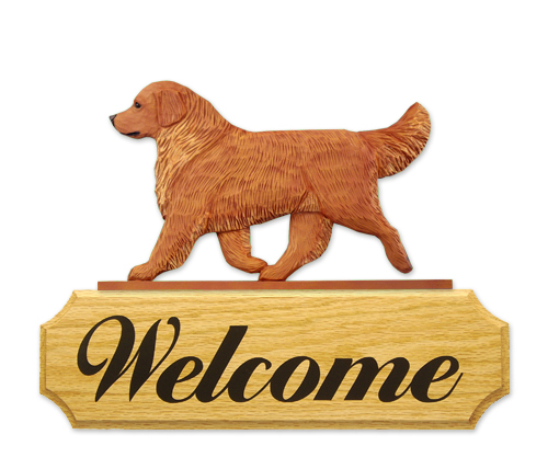 Golden Retriever Dog Welcome Sign