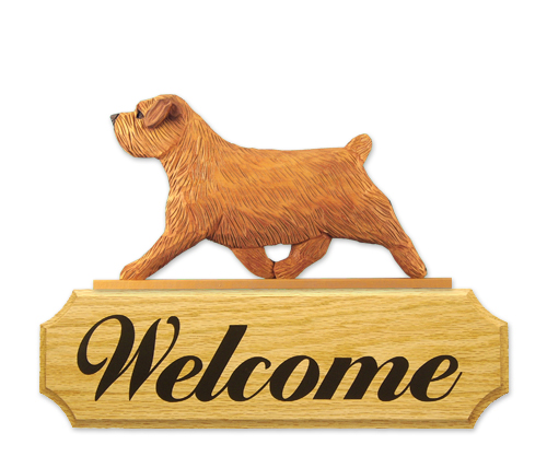 Norfolk Terrier Dog Welcome Sign