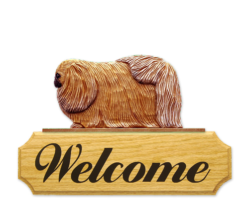Pekingese Dog Welcome Sign