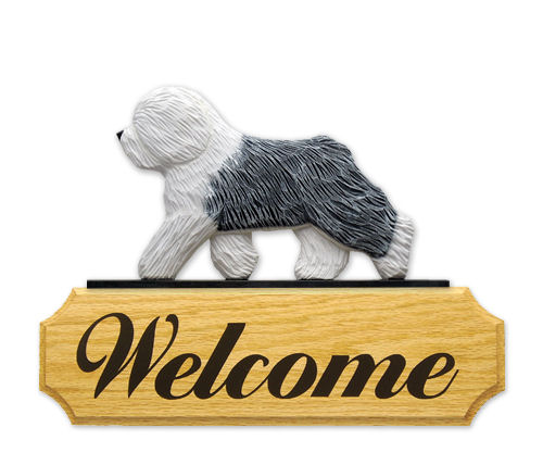Old English Sheepdog Dog Welcome Sign