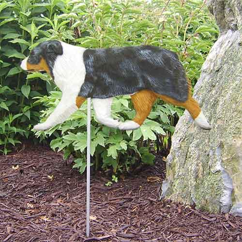 Australian Shepherd Dog Garden Stake - Blue Merle