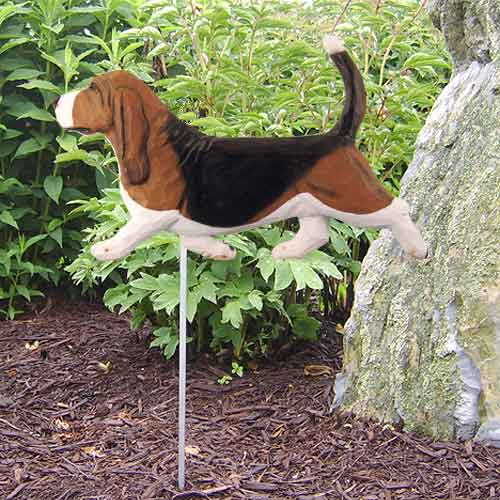 Basset Hound Dog Garden Stake - Tri