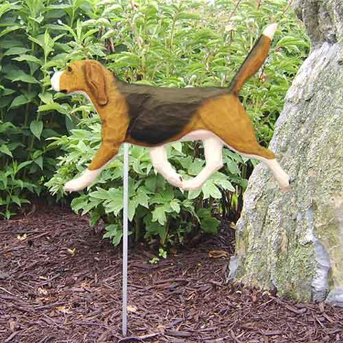 Beagle Dog Garden Stake - Tri