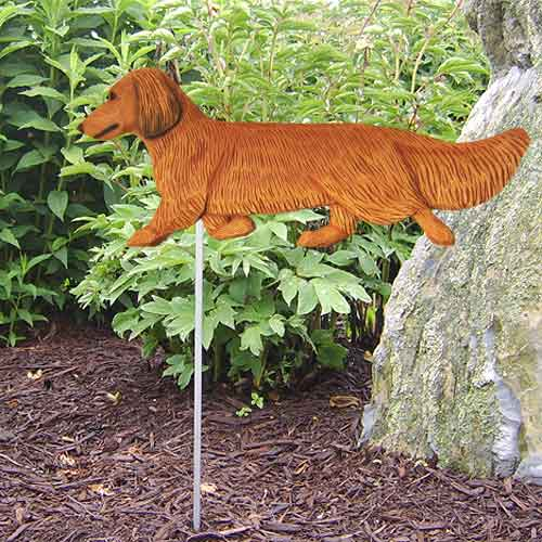 Long Hair Dachshund Dog Garden Stake