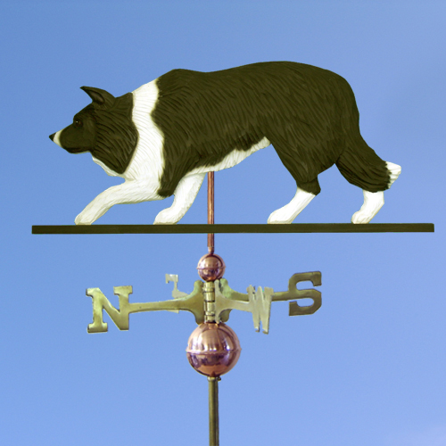 Border Collie Dog Weathervane shown in Black and White