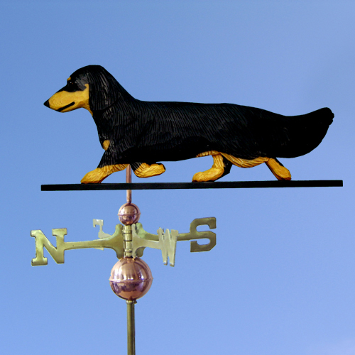 Dachshund, Long Hair Dog Weathervane shown in Black and Tan
