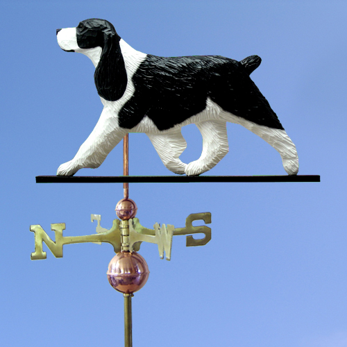 English Springer Spaniel Dog Weathervane shown in Black and White