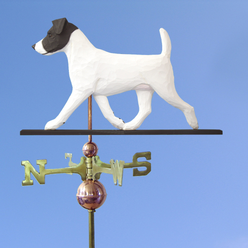 Jack Russell Terrier Dog Weathervane shown in Black and White