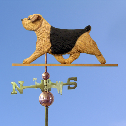 Norfolk Terrier Dog Weathervane shown in Black Saddle/Tan
