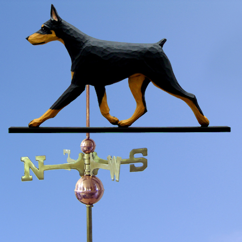Doberman Pinscher Dog Weathervane shown in Black and Tan