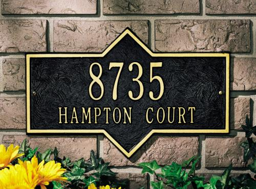 Hampton Architectural Wall Plaque - Two Line Standard - Black/Gold