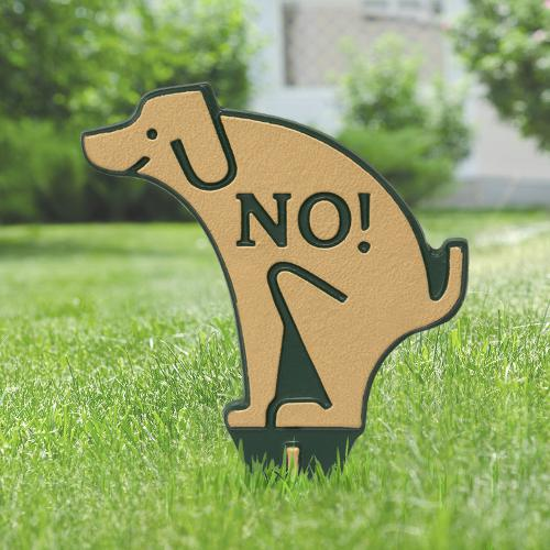 No Poop Dog Silhouette Yard Sign - Green/Gold