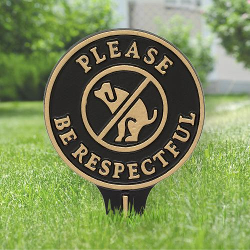 Please Be Respectful - No Poop Dog Sign - Black/Gold