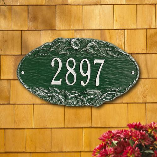 Morning Glory Oval Address Plaque - Green/Silver Lettering