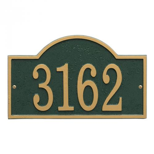 Arch Number Plaque shown in Green/Gold