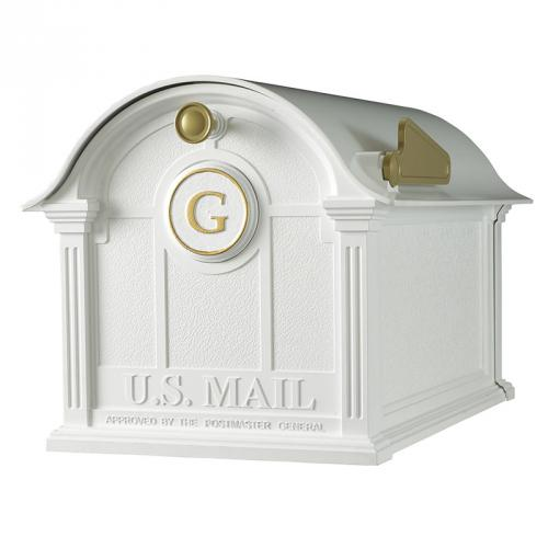 Balmoral Monogram Post Mount Mailbox - White