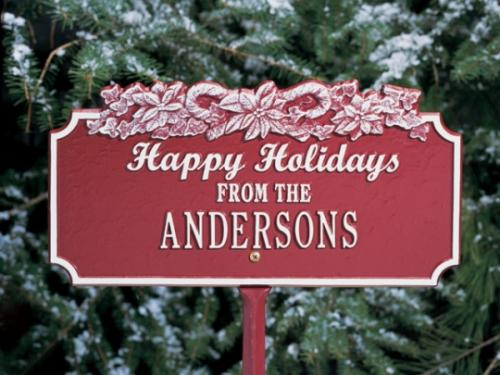 Holiday Candy Cane Personalized Lawn Plaque
