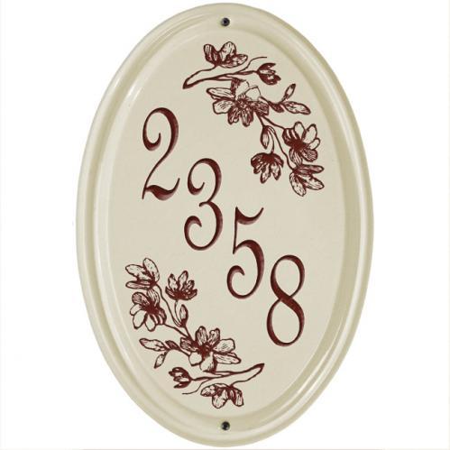 Dogwood Vertical Ceramic Number Sign - Red