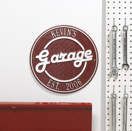 Personalized Garage Plaque - Red w/Silver Lettering