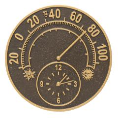 Solstice Thermometer Clock - French Bronze