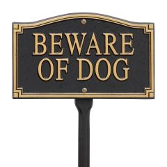 Beware Of Dog Statement Marker -Wall/Lawn - Black/Gold