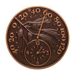 Pinecone Thermometer Clock - Antique Copper