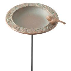 Chickadee Garden Bird Feeder - Copper Verdigris