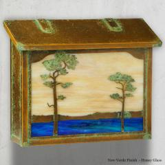 Monterey Pine Large Brass Horizontal Wall Mailbox