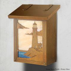 Lighthouse Vertical Brass Wall Mailbox