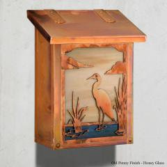 Blue Heron Vertical Wall Mailbox