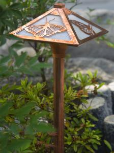Butterfly Garden Path Light - Old Penny Finish & Champagne Glass