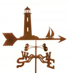 Lighthouse & Sailboat Garden Weathervane