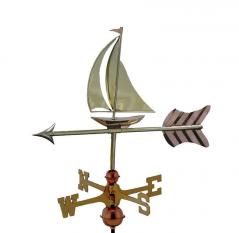 Sailboat Garden Weathervane shown in Polished Copper with Brass