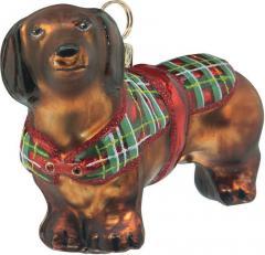 Dachhund (Red) w/Tartan Plaid Coat