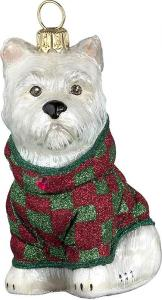 Westie w/ Red Green Checkered Coat