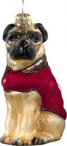 Pug w/Red Velvet Coat