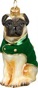 Pug w/Green Velvet Coat