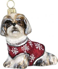Shih Tzu with Red Snowflake Sweater