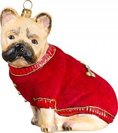 French Bulldog (Fawn) w/Red Velvet Coat