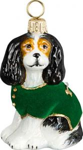 Cavalier King Charles Spaniel w/Green Velvet Coat